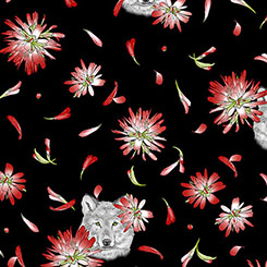 INDIAN PAINTBRUSH FLOWERS & WOLF HEAD