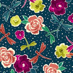 Zola FLOWERS & DRAGONFLIES DK NAVY