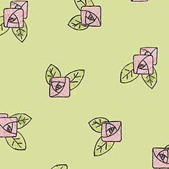 26153-H Lt Green Pink Rose Toss Hatters Tea Party QT Fabrics