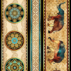 CARAVAN ELEPHANT DECORATIVE STRIPE GOLD