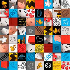 Peanuts Fabric / GOOD FRIENDS CHARACTER CHECKERBOARD MULTI