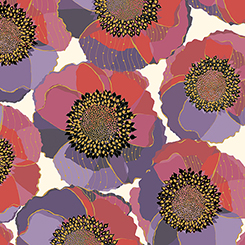 Bellisima Packed Floral Fabric - Beige by QT Fabrics
