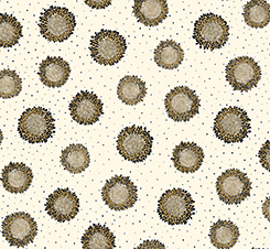 Metallic Gold and Black Floral Medallions on Cream:  Bellisima by Turnowsky for Quilting Treasures