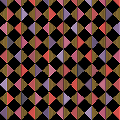 Pink, Purple, and Coral Diamond Geometrics with Gold Metallic Accents on Black:  Bellisima by Turnowsky for Quilting Treasures
