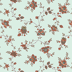 BETHEL SPACED FLORAL VINE AQUA