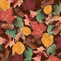 North Woods - Leaves & Pinecones Brown