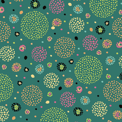 1649 26281 QH Aziza DOTTED CIRCLES DARK TEAL for Quilting Treasures. 100% cotton and 43 wide
