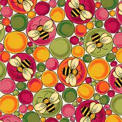Fabric-QT Bees & Bubbles Cream/Pink