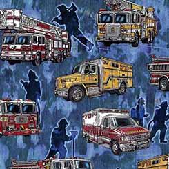5 Alarm Firetrucks on Blue