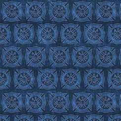 What the Dr. Ordered by QT Fabrics - 5 Alarm Fire Department Shields - Tonal Blue