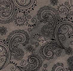 108 Paisley Filigree - Grey/Black