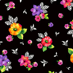 BROOKE LARGE TOSSED FLORAL BLACK