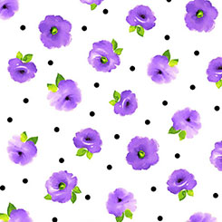 Brooke SMALL TOSSED FLORAL WHITE/LILAC
