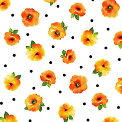 Brooke SMALL TOSSED FLORAL WHITE/ORANGE