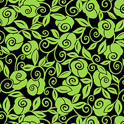 BROOKE FLORAL SCROLL BLACK/LIME