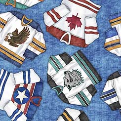 Hockey Jerseys on Blue:  Face Off by Dan Morris for Quilting Treasures