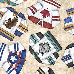 Hockey Jerseys on Natural:  Face Off by Dan Morris for Quilting Treasures