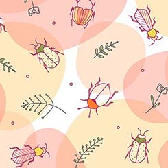 Beetles on Intersecting Peach and Yellow Ovals on White:  Thalia by Junebee for Ink & Arrow Fabrics
