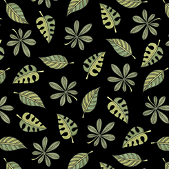 JUNGLE BUDDIES BLACK WITH GREEN LEAVES 1649-26415-J