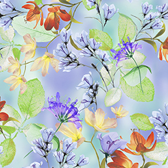 Belle WATERCOLOR FLORAL PERIWINKLE
