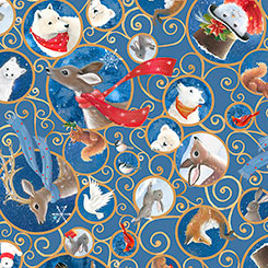 SPECIALTY FABRICS ROOM: Animal, Birds and Snowman Scroll on Blue: Woodland Dream Nativity Panel Coordinate for Quilting Treasures