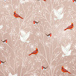 Woodland Dream CARDINALS & DOVES TAUPE
