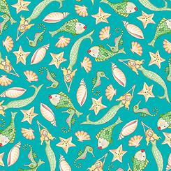 Mermaid Merriment FISH & SHELLS TEAL