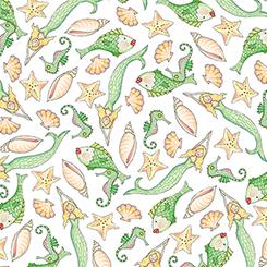Mermaid Merriment FISH & SHELLS WHITE