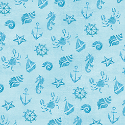 Mermaid Merriment OCEAN ICONS BLUE