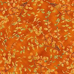 QT - Autumn Shimmer LEAF BRANCH-Orange - 26540-O