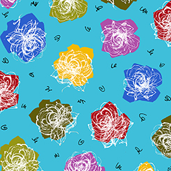 Abstract Florals in Yellow, Purple, Blue, Red, and Green on Bright Blue:  Tango by June Bee for Ink and Arrow Fabrics