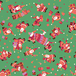 Tossed Santas and Gifts on Green with Gold Metallic Accents:  Holiday Minis by Turnowsky for Quilting Treasures