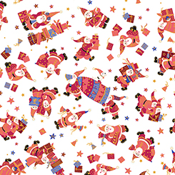 Tossed Santas and Gifts on White with Gold Metallic Accents:  Holiday Minis by Turnowsky for Quilting Treasures