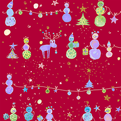 Quilting Treasures Holiday Minis SNOWMAN RED