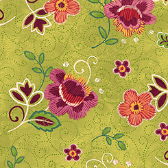 Olivia Tossed Flower Lt Green 26621-H