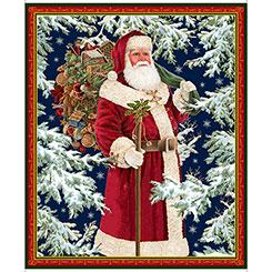 Quilting Treasures Christmas Eve VINTAGE SANTA PANEL MULTI