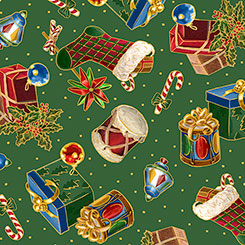Quilting Treasures Christmas Eve PRESENTS & STOCKINGS GREEN