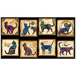 PURR-SUASION CAT PATCHES Panel  1649 26642J  Quilting Treasures