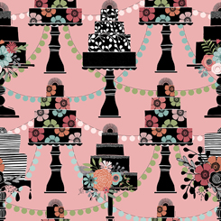 Layered Cakes with Party Decorations on Pink:  Piece Of Cake by Sheree Burlington for Quilting Treasures