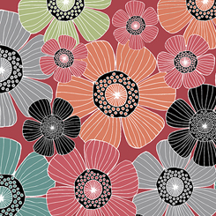 Packed Flowers on Red:  Piece Of Cake by Sheree Burlington for Quilting Treasures