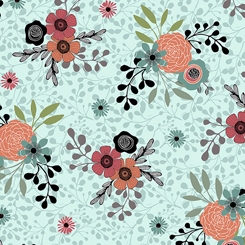 Spaced Orange and Coral Florals on Aqua: Piece Of Cake by Sheree Burlington for Quilting Treasures