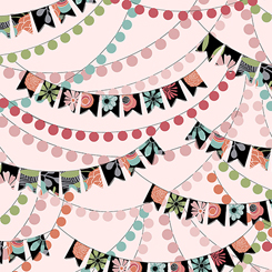 Party Banners on Light Pink:  Piece Of Cake by Sheree Burlington for Quilting Treasures