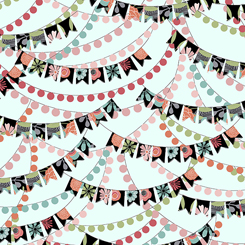 Party Banners on Light Aqua:  Piece Of Cake by Sheree Burlington for Quilting Treasures