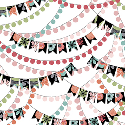 Party Banners on White:  Piece Of Cake by Sheree Burlington for Quilting Treasures