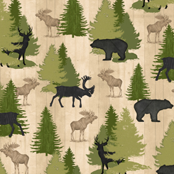 Moose Trail Lodge ANIMALS & PINE TREES CREAM