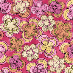 Pink, Green, Yellow, and Orange Flowers on Dark Pink: Aziza by June Bee for Quilting Treasures