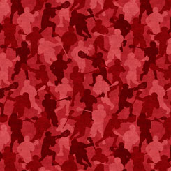 Lacrosse Player Silhouettes in Camo Red:  Stick With It by Dan Morris for Quilting Treasures