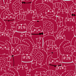 CAT FISH SKETCHED CATS Red 26730-R