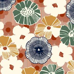 Gretta 1930'S Floral TerraCotta 26738