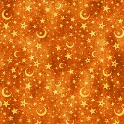 Intergalactic MOON & STARS BURNT ORANGE by QT Fabrics